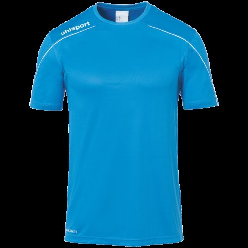 MAILLOT manches courtes cyan/blanc